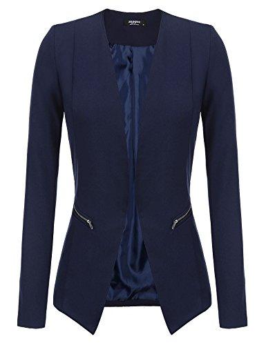 Zeagoo Womens Casual Open Front Blazer Long Sleeve Asymmetric Side Zipper Suit Jacket
