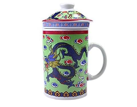 Green Dragon Chinese Three Piece Mug. (Green)