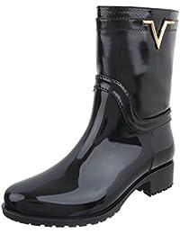 Gummistiefeletten Gummi Damenschuhe Gummistiefel Blockabsatz Blockabsatz Reißverschluss Ital-Design Stiefeletten