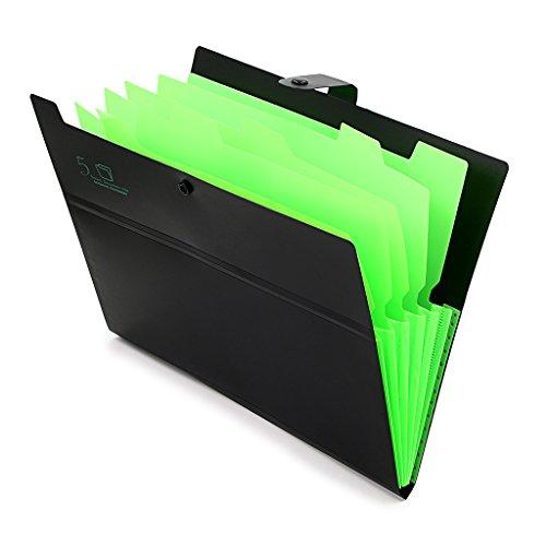 Hipiwe A4 Expanding File Folder Pocket Document File Wallet Poly Concertina Accordion File Organiser (5 Pocket) (Black)