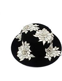 FeiNianJSh con il Fiore Bianco Perla Vintage Black Wool Wide Brim Bowler  Trilby Fedora Cappello per Le Donne Inverno Autunno Caldo Pianura Piatto… 03d6e4db8e41