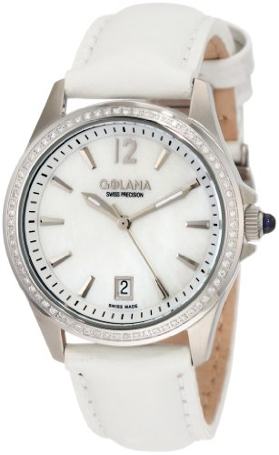 Golana Swiss Women's AU100-6 Aura Pro 100 White Mother-of-Pearl Dial Leather Watch