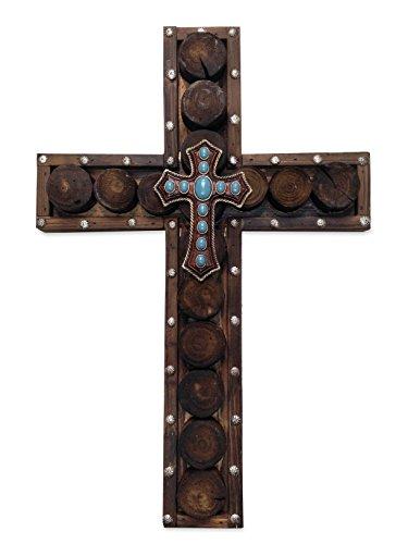 HiEnd Accents Western Nieten Holz Kreuz mit kleinem Kreuz Overlay - Overlay Kreuz