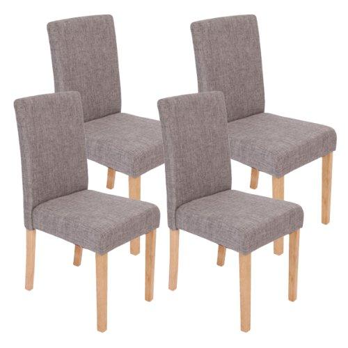Bein-esszimmer-serie (Mendler 4X Esszimmerstuhl Stuhl Lehnstuhl Littau ~ Textil, grau, helle Beine)