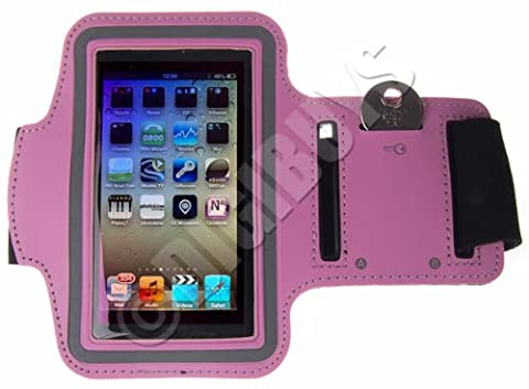 Pink A-Sports Adjustable ARMBAND key holder for iPod Touch 4th 4G Gen UK