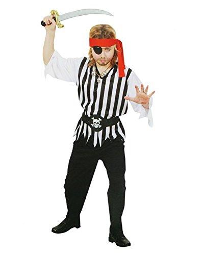 com-four® Pirat Kinder-Kostüm Set für Fasching, Karneval, Halloween (Gr. 128 (5-7 Jahre) Shirt. Hose. Gürtel. Kopfband)