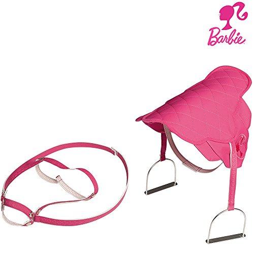 Barbie Sattel mit Zaumzeug und Steigbügeln, pink mit Barbie Emblem: Pferdesattel für Plüschpferd Kinder Reitpferd Sattel mit Steigbügeln