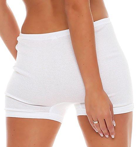 3er Pack Damen Slip mit Bein oder ohne Bein, weiß oder mit Blumen Muster (Schlüpfer, Unterhose) 438-444 (52/54, 441) - 3