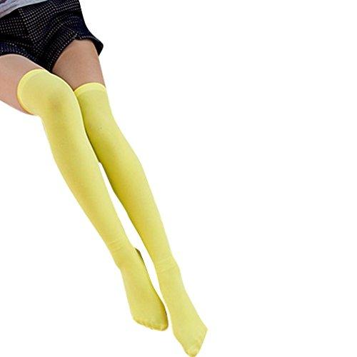 Socken Knee Farbe High (Strümpfe Damen Frauen über Knie-Lange Socken,KIMODO Damen Mädchen Mode deckend über Knie Oberschenkel hohe elastische Socken, Damen Fashion Over Knee High Temptation Stretch Nylon Socks New (Gelb))
