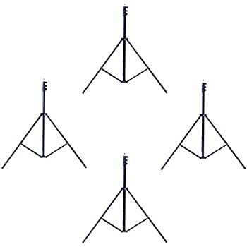 Phot-R 3m Professional Photography Adjustable 3-Section Lightweight Aluminium Light Stand - Black (Pack of 4)