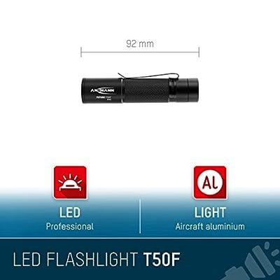 ANSMANN FUTURE T50F Professionelle LED Taschenlampe in schwarz - Helle & kleine Outdoor Lampe mit stufenloser Fokussierung & Clip - ideal für Camping Outdoor Licht Arbeitsleuchte Handlampe - 60 Lumen von ANSMANN