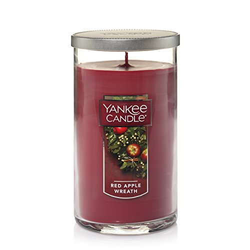 YANKEE CANDLE Duftkerze im Glas Kerzen Medium Perfect Pillar Candle rot (Apple Wreath Yankee Candle Red)