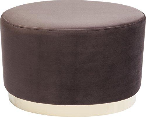 Kare Polsterhocker Cherry Eclipse Brass, kleiner, moderner Design Hocker mit Samtbezug, oval, Braun-messing (H/B/T) 40x60x40cm