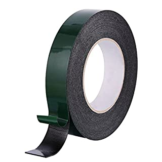 10 m (25 mm) Foam Tape Double Sided Sponge Tape Waterproof Mounting Adhesive Tape Roll Automotive Grade Number Plates Cars Trims, Black