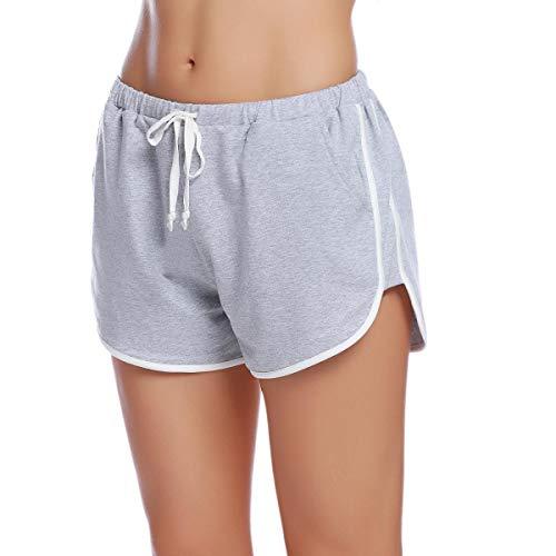 Damen Leinen Drawstring (Abollria Shorts Damen Schlafhose Kurze Sporthose Baumwolle Schlafanzughose Pyjamahose Kurz Hosen Yoga Running Gym Beiläufige Elastische)