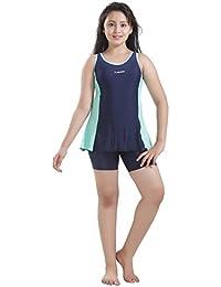 Rovars Girls Swimwear Racerback Swimdress with Boyleg