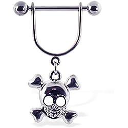 Anillo de pezón con dangling Happy Skull