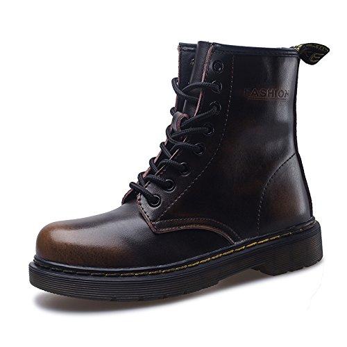SITAILE Uomo Donna Inverno Pelliccia Neve Stivali Snow Boots caldo Stivali Cavaliere Martin Stivaletti Stringati,Marrone,36