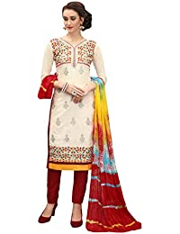 Women'S Cream Semi Stitched Embroidered Cotton Dress Material MSMKWB7008