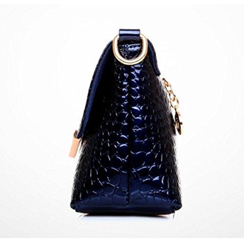 Femmina Moda Borsa Pelle Verniciata Modello Coccodrillo Borsa A Tracolla RoseRed