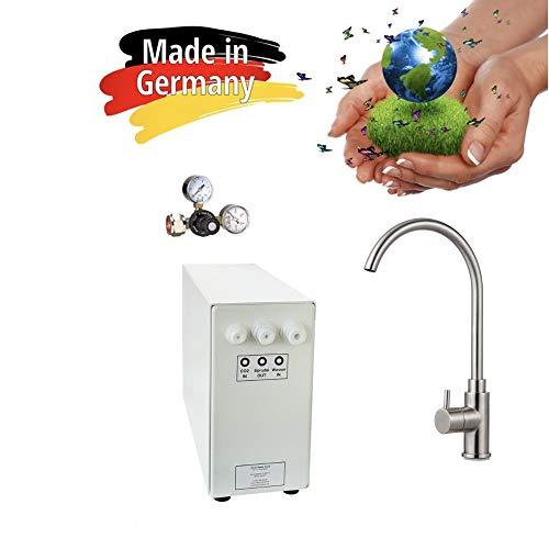 Sprudel-Lok Sprudel aus dem Wasserhahn! Untertisch-Trinkwassersystem - Trinkwassersprudler NEUHEIT! inkl. 1-Weg-Zusatzarmatur Sandra Edelstahl Massiv und Anschluss-Set. Made in Germany