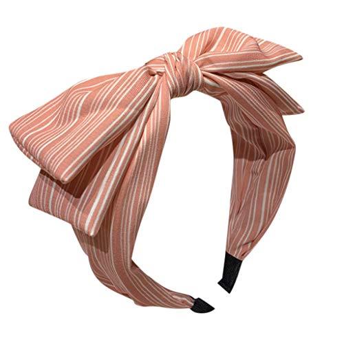 SUNFANY Vintage Stirnband Haarband Haare Frisuren Scrunchies Haargummis Frauen Bogen Streifen Stirnband Stirnband Kreuz Krawatte Stirnband Haarband Hoop - Rosa