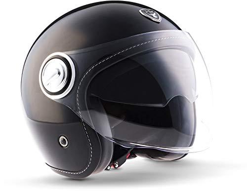 "Soxon® SP-888 ""Mono Black"" · Jet-Helm · Motorrad-Helm Roller-Helm Scooter-Helm Retro · ECE Sonnenvisier Schnellverschluss SlimShell Tasche M (57-58cm)"