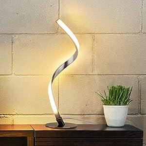Albrillo Spiral LED Tischlampe aus Aluminium, Moderne Tischleuchte warmweiß mit 1.5 m Kabel Perfekt für Schlafzimmer Wohnzimmer