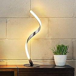 Albrillo LED Tischlampe Dimmbar - Moderne Spiral Tischleuchte, Touch Control und Stufenlos Dimmbar, Warmweiß 3000K Nachttischlampe mit 1.5m Kabel, Perfekt für Schlafzimmer, Büro, Wohnzimmer