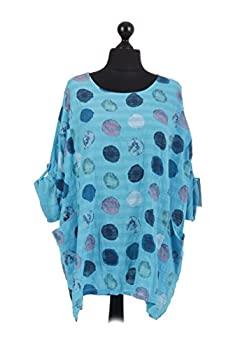 New Italian Ladies Women Lagenlook Polka Dots Cotton Tunic Top Plus Size 16-24 (Turquoise) 1
