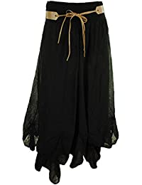 Halo Frauen Cotton Gypsy Tiered Hitched Hem Belted Damen Maxi Langer Rock