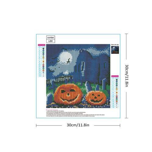 myonly Halloween 5D DIY Diamant Malset Kürbis Strass Stickerei Kreuzstich DIY Handwerk für Zuhause Wand Dekoration 5d Diy Halloween Diamond Paint (Halloween Handwerk Wand-dekoration)