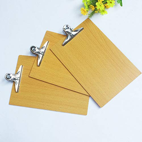 STOBOK Clipboard A4 Wooden Clipboard with Metal Clip for Office Work 6 Pieces