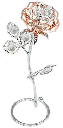 Rose statue figure with crystal statue with golden rose and chrome so that the Made with SWAROVSKI ELEMENTS