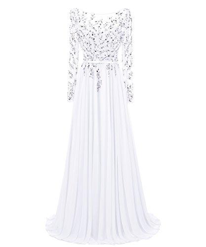 Dresstells Damen Langer Ärmel Rückenfreie Abendkleider Promi-Kleider Weiß