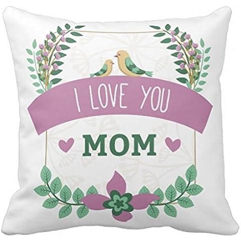 Regalos para el día de la madre lona de algodón cojín funda de almohada de flores ramo corazón arte Floral mejor mamá manta almohada decorativa fundas de almohada casa 16