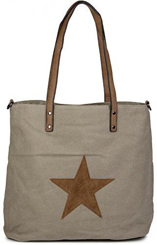 styleBREAKER Canvas Shopper Handtasche mit aufgenähtem Stern, Schultertasche, Umhängetasche, Damen 02012048 Taupe
