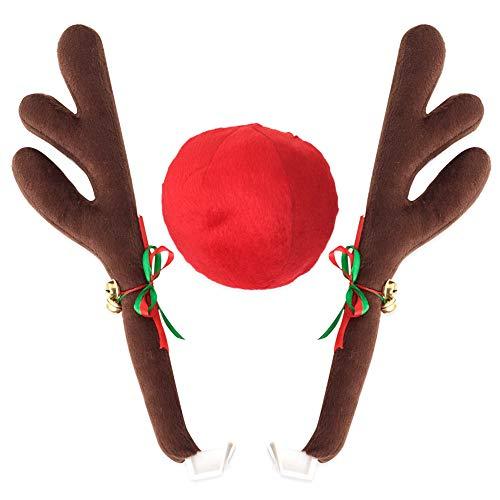 Finerplan Rentiergeweih Jingle Bells Kostüm Rudolph Auto Weihnachten Dekoration mit Nase (Halloween-kostüme Einfache Niedlich)