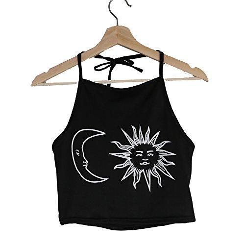 Yvette Damen Mode Sommer Print Halter Ärmelloser Sport T Shirt Fitness Tees Yoga Weste Tank Tops DN0990062 Schwarz