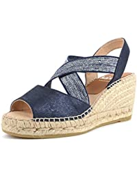 7962fbe0974d Kanna Ania Marino Wedge Espadrille Sandal Blue