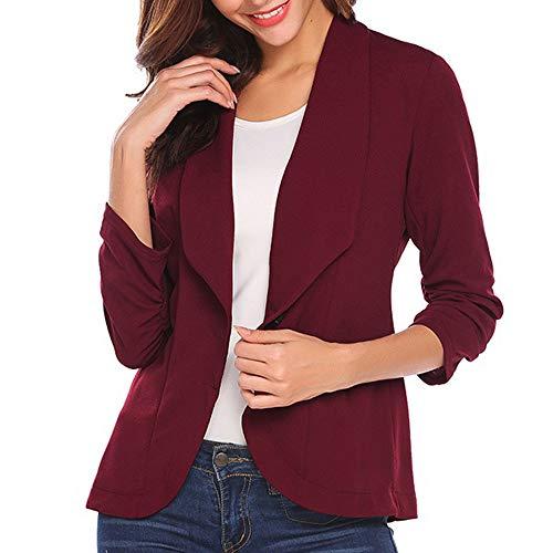 Juliyues Damen Blazer Tailliert Kurz Elegante 3/4 Längere Slim Business Büro Jäckchen Anzug Casual Kurzblazer Mantel Jacke Outwear