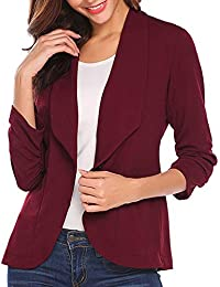 716fdf9f1d31 TUDUZ Damen Blazer Tailliert Kurz Elegante Langarm Slim Business Büro  Jäckchen Anzug Casual Kurzblazer Mantel Jacke
