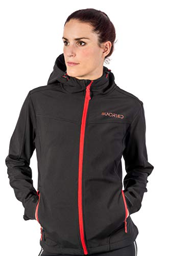 Sundried Damen Softshell Jacke Technische beiläufige Winddichtes Wintermantel - Kapuzen Warm Stilvoll - Beste für den Winter (Schwarz, Medium)