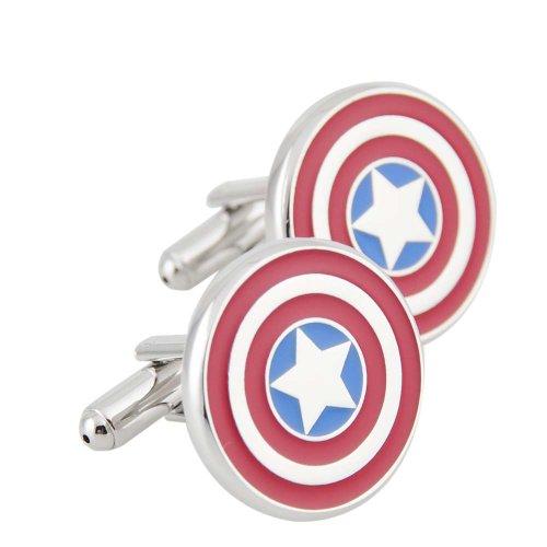 Rhodium Plated Captain America Cufflinks Marvel Comics Formal Wear - 2