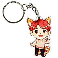 Aohua Preferred KPOP EXO Cute Cartoon Acrylic Keychain Key Ring for Bag and Belt Loop Accessory Best Gift for Fans( H01)
