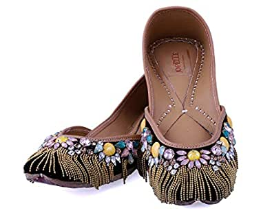 JOPELLE The Purple Blended Diamond Handcrafted Leather Hand-Embroidered Black Punjabi Juttis Mojari for Women- 7UK
