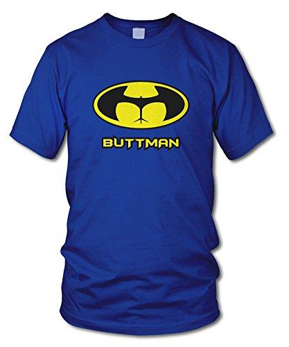 shirtloge - BUTTMAN - KULT - Fun T-Shirt - in verschiedenen Farben - Größe S - XXL Royal (Schwarz)