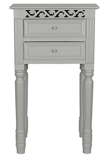 Set of Two Pretty Light Grey Bedside Tables with Drawers.