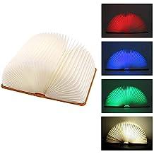 LED Buchlampe Tischlampe faltbar Wiederaufladbar Holzlampme Buch Design tragbar Schreibtisch Lampe ideal als Buchlampe Tischlampe Wandleuchte mit USB Kabel tragbar Buchlicht in viel Farben