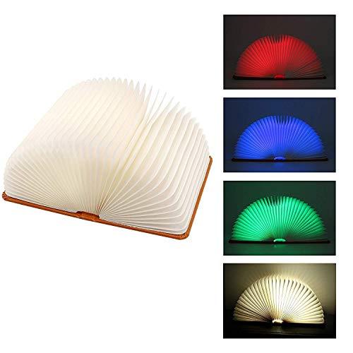 Faltbare Buchlampe, Macrourt LED Stimmungsbeleuchtung aus PU-Leder und Papier, 2000mAh mit USB-Kabel, Perfekte Geschenk für Kinder, Freund, Familen (L) -